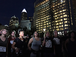 Protesters gather and chant slogans in Romare Bearden Park in Charlotte, NC, USA, on Thursday, September 22, 2016. Photo by Jeff Siner/Charlotte Observer/TNS/ABACAPRESS.COM
