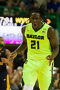 WACO, TX - MARCH 5: Taurean Prince #21 of the Baylor Bears celebrates after a made three-pointer against the West Virginia Mountaineers on March 5, 2016 at the Ferrell Center in Waco, Texas.  (Photo by Cooper Neill/Getty Images) *** Local Caption *** Taurean Prince