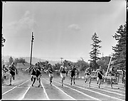 """""""city track meet champs at Roosevelt. May 31, 1951"""" Caption in Oregonian 6/1/51 pg. 30 """"These Prep Sprinters Paced to Tape by Roosevelt Speedster. Here is the finish of the 100-year dash in the Portland Interscholastic track and field meet at Roosevelt Thursday. It was won by Roosevelt's Neal Anderson, second from left, 10.2. From left: Fred Flowers, Lincoln, who placed fourth; Andersen, George Marshall, Lincoln; George Shaw, Grant who finished third; Joe Bitz, Franklin, and Ron Baker, Grant, who finished second to Andersen. Lincoln won meet"""""""