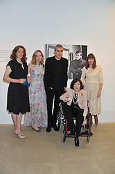 Left to right, SAM McEWEN, FLORA McEWEN, ADAM McEWEN, CHRISTABEL HOLLAND and their mother ROMANA McEWEN at a private view of work by the late Rory McEwen - The Colours of Reality, held at the Shirley Sherwood Gallery, Kew Gardens, London on 20th May 2013.