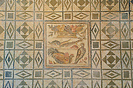 Geometric Roman floor mosaic. From the  Grotte Celoni area of the via Casilina, Rome. End of 1st and beginning of 2nd century AD. National Roman Museum, Rome, Italy .<br /> <br /> If you prefer to buy from our ALAMY PHOTO LIBRARY  Collection visit : https://www.alamy.com/portfolio/paul-williams-funkystock/national-roman-museum-rome-mosaic.html <br /> <br /> Visit our ROMAN ART & HISTORIC SITES PHOTO COLLECTIONS for more photos to download or buy as wall art prints https://funkystock.photoshelter.com/gallery-collection/The-Romans-Art-Artefacts-Antiquities-Historic-Sites-Pictures-Images/C0000r2uLJJo9_s0