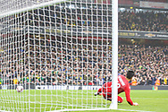 Brazil forward Neymar Jr (10) (not in the picture) scores a goal after taking a penalty kick during the Friendly International match between Brazil and Uruguay at the Emirates Stadium, London, England on 16 November 2018.