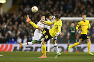Lukasz Piszczek of Borussia Dortmund is challenged by Ben Davies of Tottenham Hotspur .UEFA Europa League round of 16, 2nd leg match, Tottenham Hotspur v Borussia Dortmund at White Hart Lane in London on Thursday 17th March 2016<br /> pic by John Patrick Fletcher, Andrew Orchard sports photography.