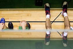 Legs of a player during basketball match between KK Krka Novo mesto and Pinar Karsiyaka (TUR) in 5th Round of EuroChallenge 2013 on December 4, 2012 in Arena Leon Stukelj, Novo mesto, Slovenia. Krka defeated Pinar Karsiyaka 80-74. (Photo By Vid Ponikvar / Sportida)