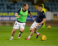 06/10/2020: Dundee FC train at Kilmac Stadium after their Betfred Cup match against Forfar Athletic was postponed due to a positive COVID test result for one of the Forfar players: Paul McGowan takes on Danny Mullen  <br /> <br /> <br />  :©David Young: davidyoungphoto@gmail.com: www.davidyoungphoto.co.uk