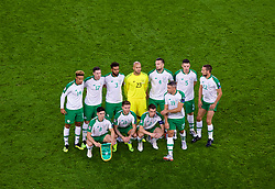 CARDIFF, WALES - Thursday, September 6, 2018: Republic of Ireland players line-up for a team group photograph before the UEFA Nations League Group Stage League B Group 4 match between Wales and Republic of Ireland at the Cardiff City Stadium. Back row L-R: Callum Robinson, Stephen Ward, Cyrus Christie, goalkeeper Darren Randolph, Shane Duffy, Ciaran Clark, Conor Hourihane. Front row L-R: Callum O'Dowda, Jeff Hendrick, captain Séamus Coleman and Jonathan Walters. (Pic by Laura Malkin/Propaganda)