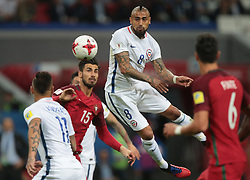 June 28, 2017 - Kazan, Russia - André Gomes (L) of the Portugal national football team and Arturo Vidal of the Chile national football team vie for the ball during the 2017 FIFA Confederations Cup match, semi-finals between Portugal and Chile at Kazan Arena on June 28, 2017 in Kazan, Russia. (Credit Image: © Igor Russak/NurPhoto via ZUMA Press)