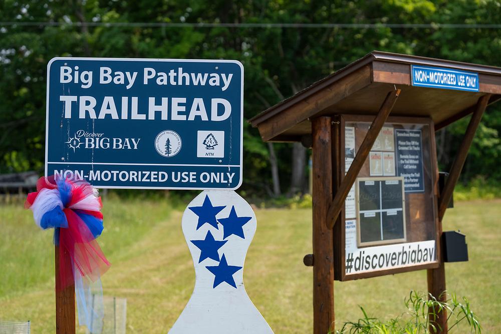 Big Bay Pathway Trailhead signage in Big Bay, Michigan.