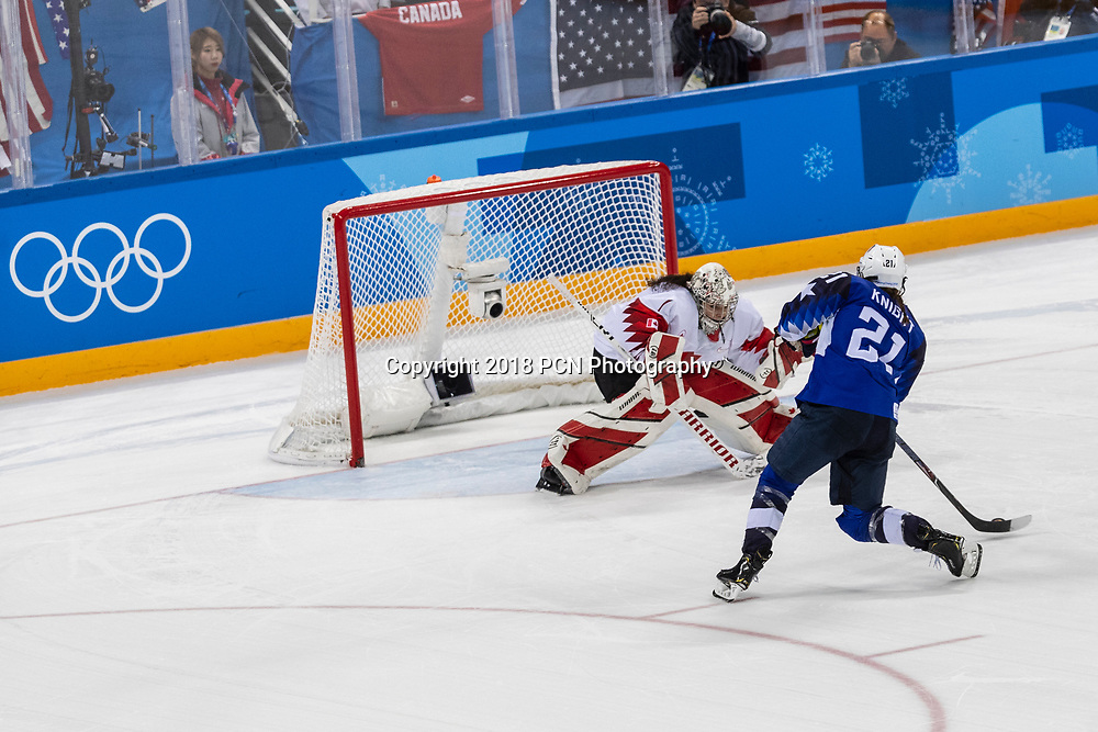 Goalie Shannon Szabados (CAN) during the Gold medal Women's Ice Hockey game USA vs Canada at the Olympic Winter Games PyeongChang 2018