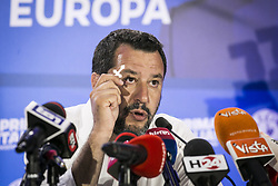 Italy, Milan - May 26, 2019.European Parliament elections.Exit polls. Matteo Salvini of right-wing populist League party, leads in EU vote..Press conference with catholic crucifix after the exit polls (Credit Image: © De Grandis/Fotogramma/Ropi via ZUMA Press)