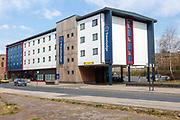 Modern Travelodge hotel building Duke Street, near the Wet Dock, Ipswich, Suffolk, England, UK