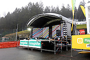 Belgium, Sunday 13th December 2015: The podium for the Hansgrohe Superprestige cyclocross races at Spa Francorchamps.<br /> <br /> Copyright 2015 Peter Horrell