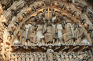 Medieval Gothic Sculptures of the South portal  Tympanum and lintel depicting Christ and the Last Judgement. Cathedral of Chartres, France. A UNESCO World Heritage Site. .<br /> <br /> Visit our MEDIEVAL ART PHOTO COLLECTIONS for more   photos  to download or buy as prints https://funkystock.photoshelter.com/gallery-collection/Medieval-Middle-Ages-Art-Artefacts-Antiquities-Pictures-Images-of/C0000YpKXiAHnG2k