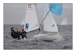 470 Class European Championships Largs - Day 2.Wet and Windy Racing in grey conditions on the Clyde...FRA39, Maelenn Lema?tre, Aloise Retornaz, E.v.locquirec..