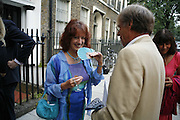 Bel Mooney and Trevor Grove, The Spectator At Home. Doughty St. 6 July 2006. ONE TIME USE ONLY - DO NOT ARCHIVE  © Copyright Photograph by Dafydd Jones 66 Stockwell Park Rd. London SW9 0DA Tel 020 7733 0108 www.dafjones.com