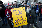 Brexit Betrayal March - Brexit Means Exit! organised by the UK Independence Party, described as a 'cross-party peoples rally to show our MPs that the 17.4 million who voted to leave the EU really meant what we said' on Brexit on 9th December 2018 in London, United Kingdom. The demonstration opposes Theresa Mays Withdrawal Agreement' however is being seen by counter protesters as racist following the appointment by UKIP of the far-right campaigner Tommy Robinson.
