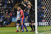 Crystal Palace Goalkeeper, Julian Speroni (1), Bolton Wanderers Forward, Zach Clough (10) and Crystal Palace Defender, Ezekiel Fryers (19)   during the The FA Cup 3rd round match between Bolton Wanderers and Crystal Palace at the Macron Stadium, Bolton, England on 7 January 2017. Photo by Mark Pollitt.