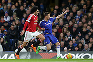 Marouane Fellaini of Manchester United pulling Nemanja Matic of Chelsea by his shirt. Barclays Premier league match, Chelsea v Manchester Utd at Stamford Bridge in London on Sunday 7th February 2016.<br /> pic by John Patrick Fletcher, Andrew Orchard sports photography.