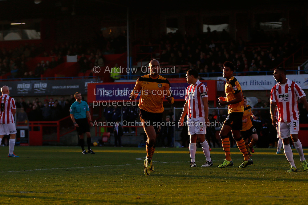 Chris Zebroski of Newport County celebrates scoring his side's first goal.<br /> Skybet football league two match, Cheltenham Town  v Newport County at The Abbey Business Stadium, Whaddon Road in Cheltenham, Glos on Sunday 28th December 2014.<br /> pic by Mark Hawkins, Andrew Orchard sports photography.