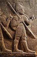 Picture of Neo-Hittite orthostat with releif sculpture of 3 soldiers from the legend of Gilgamesh from Karkamis,, Turkey. Museum of Anatolian Civilisations, Ankara.