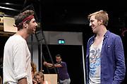 Open repetitie HAIR in de studio van Stage Entertainment.<br /> <br /> op de foto:  Jeffrey Italiaander en William Spaaij