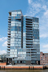"Modern apartment building ""Kristall"" on waterfront of River Elbe in Hamburg Germany"