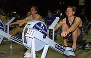 2004_British_Indoor_Rowing_Championships.NIA. Birmingham.England. 21.11.2004.MBUSA Hwt  Varsity Presidents race on adjacent Machines Andrew Shannon [left light Blue] and Robin Bourne-Taylor [ dark Blue].[Mandatory Credit Peter Spurrier/ Intersport Images]