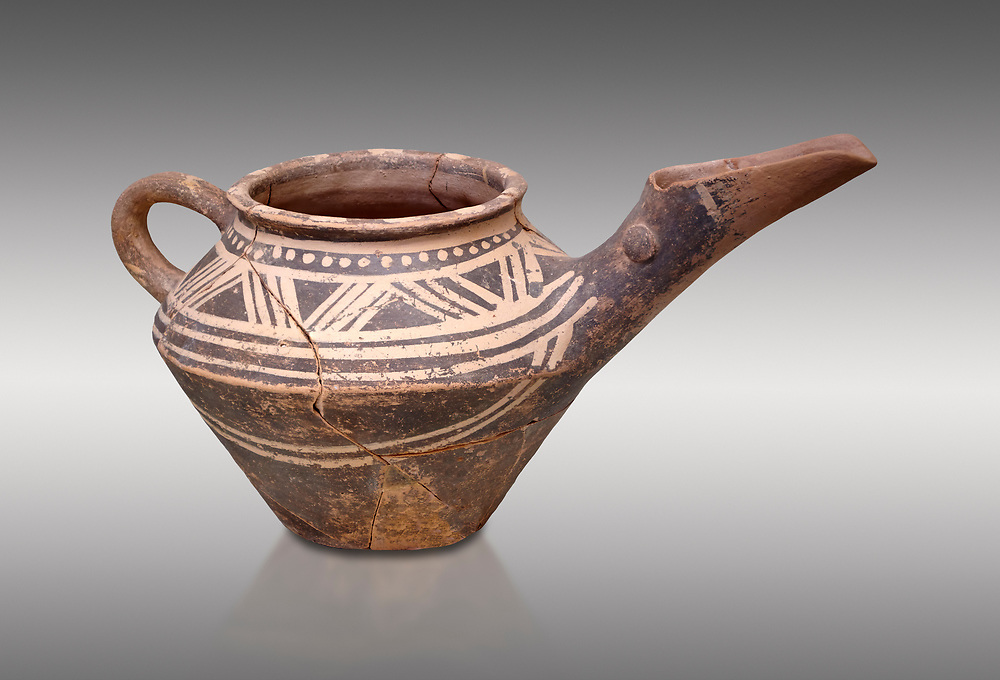 """Early Minoan clay decorated """"teapot"""" with elongated spout,  Michlos Cemetery 2600-1900 BC BC, Heraklion Archaeological  Museum, grey background. .<br /> <br /> If you prefer to buy from our ALAMY PHOTO LIBRARY  Collection visit : https://www.alamy.com/portfolio/paul-williams-funkystock/minoan-art-artefacts.html . Type -   Heraklion   - into the LOWER SEARCH WITHIN GALLERY box. Refine search by adding background colour, place, museum etc<br /> <br /> Visit our MINOAN ART PHOTO COLLECTIONS for more photos to download  as wall art prints https://funkystock.photoshelter.com/gallery-collection/Ancient-Minoans-Art-Artefacts-Antiquities-Historic-Places-Pictures-Images-of/C0000ricT2SU_M9w"""