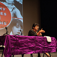 Indigenous feminist, Dr. Jennifer Nez Denetdale, closes out the full day feminists symposium at the El Morro Theatre, Friday.