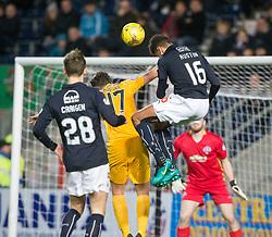 Falkirk's Nathan Austin heads of the post. Falkirk 0 v 1 Morton, Scottish Championship game played 18/3/2017 at The Falkirk Stadium.