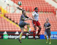 Sheffield United Ladies' Tania Marsden (Right) and Leicester City Ladies' Annie Taylor contest a header during the FA Women's Cup First Round match at Bramall Lane Stadium, Sheffield. Picture date: December 4th, 2016. Pic Clint Hughes/Sportimage