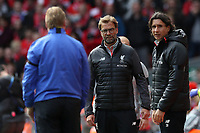 Football - 2016 / 2017 Premier League - Liverpool vs. Everton<br /> <br /> Jurgen Klopp manager of Liverpool and Everton manager Ronald Koeman during the match at Anfield.<br /> <br /> COLORSPORT/LYNNE CAMERON
