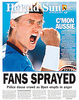 """Another win, another """"C'Mon"""" for Lleyton. (Copyright Michael Dodge/Herald Sun)"""