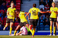 Khadija SHAW (Univ. Tennessee (USA)) celebrates her opening goal during the International Friendly match between Scotland Women and Jamaica Women at Hampden Park, Glasgow, United Kingdom on 28 May 2019.