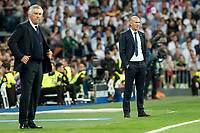 Carlo Ancelotti of FC Bayern Munchen and Zinedine Zidane coach  of Real Madrid during the match of Champions League between Real Madrid and FC Bayern Munchen at Santiago Bernabeu Stadium  in Madrid, Spain. April 18, 2017. (ALTERPHOTOS)