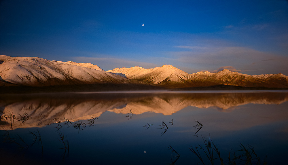 Pingo Lake and moon, morning light, Noatak River area, Gates of the Arctic National Park, Alaska, USA