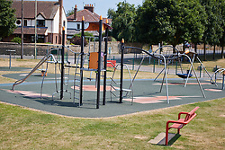 "© Licensed to London News Pictures.  18/07/2013. THAME, UK. General view of a playground in Southern Road recreation ground in Thame, Oxfordshire where yesterday afternoon (Wed 17th) a 14-month old boy was hospitalised after picking up a discarded drugs wrap and chewing it. His condition is not thought to be serious but he was kept in overnight for observation.<br /> <br /> Police officers searched the scene for further paraphernalia and engaged with the council who will carry out additional cleaning at the recreation ground.<br /> <br /> Det Sgt Darren Cartwright of Thames Valley Police said: ""This was obviously a frightening experience for the boy's parents, but fortunately he doesn't seem to have been seriously harmed. It seems he had picked up a discarded paper wrap believed to have contained an illegal drug."" <br /> <br /> Photo credit: Cliff Hide/LNP"