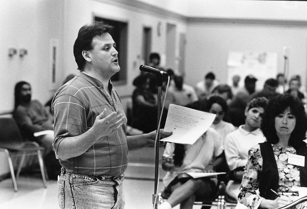 ©1991  Public hearings on school closings, Austin ISD school board with community leaders speaking out.