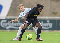Philip Rejnhold (FC Helsingør) presser Tiémoko Konaté (Vendsyssel FF) under kampen i 1. Division mellem FC Helsingør og Vendsyssel FF den 18. september 2020 på Helsingør Stadion (Foto: Claus Birch).