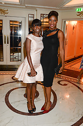 Left to right, MICHELLE WARD and athlete DENISE LEWIS at the inaugural Stephen Lawrence Memorial Ball held at The Dorchester, Park Lane, London on 17th October 2013.