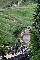 Hikers crossing the Edith Creek footbridge on the Golden Gate trail in Edith Creek Basin at Paradise Meadows, Mount Rainier National Park, WA USA