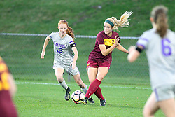 04 November 2016: Emily Richardson(15) & Shelby Koch(22) during an NCAA Missouri Valley Conference (MVC) Championship series women's semi-final soccer game between the Loyola Ramblers and the Evansville Purple Aces on Adelaide Street Field in Normal IL