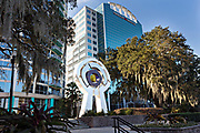 Monumental sculpture Centered by artist C.J Rench along Lake Eola Park in Orlando, Florida. Lake Eola Park is located in the heart of Downtown Orlando and home to the Walt Disney Amphitheater.