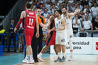 Real Madrid Facundo Campazzo and Rudy Fernandez and Baskonia Vitoria Matt Janning and Jayson Granger during Turkish Airlines Euroleague match between Real Madrid and Baskonia Vitoria at Wizink Center in Madrid, Spain. January 17, 2018. (ALTERPHOTOS/Borja B.Hojas)