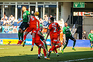 Coventry City defender Jordan Willis (4) heads towards goal during the EFL Sky Bet League 1 match between Luton Town and Coventry City at Kenilworth Road, Luton, England on 24 February 2019.
