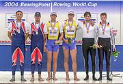 Poznan, POLAND.   2004 FISA World Cup, Malta Lake Course.  <br /> <br /> Men's pair medals <br /> Left Silver Medal SCG M2-  Nikola Stojic and Mladen Stegic<br /> Centre Gold RCO M2- Medal Sinisa Skelin and Niksa Skelin<br /> Right Bronze medal GER M2- Tobais Kuehne and Jan Hezog<br /> 09.05.2004<br /> <br /> [Mandatory Credit:Peter SPURRIER/Intersport Images]