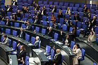 """25 MAR 2020, BERLIN/GERMANY:<br /> um das Abstandsgebot zu beachten, ist nur jder dritte Platz in den Abgeordnentenreihen besetzt, hier die SPD und Gruene Fraktion, Bundestagsdebatte zu """"COVID 19 - Kreditobergrenzen, Nachtragshaushalt, Wirtschaftsfonds"""", Plenum, Reichstagsgebaeude, Deutscher Bundestag<br /> IMAGE: 20200325-01-007<br /> KEYWORDS: Pandemie, Corona, Sitzung, Debatte"""