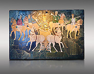 4th Century AD Roman Opus Sectile Mosaic of a chariot & 4 horses from the basilica de Giunio Basso.  Museo Nazionale Romano ( National Roman Museum), Rome, Italy. Against a grey background. .<br /> <br /> If you prefer to buy from our ALAMY PHOTO LIBRARY  Collection visit : https://www.alamy.com/portfolio/paul-williams-funkystock/national-roman-museum-rome-mosaic.html <br /> <br /> Visit our ROMAN ART & HISTORIC SITES PHOTO COLLECTIONS for more photos to download or buy as wall art prints https://funkystock.photoshelter.com/gallery-collection/The-Romans-Art-Artefacts-Antiquities-Historic-Sites-Pictures-Images/C0000r2uLJJo9_s0