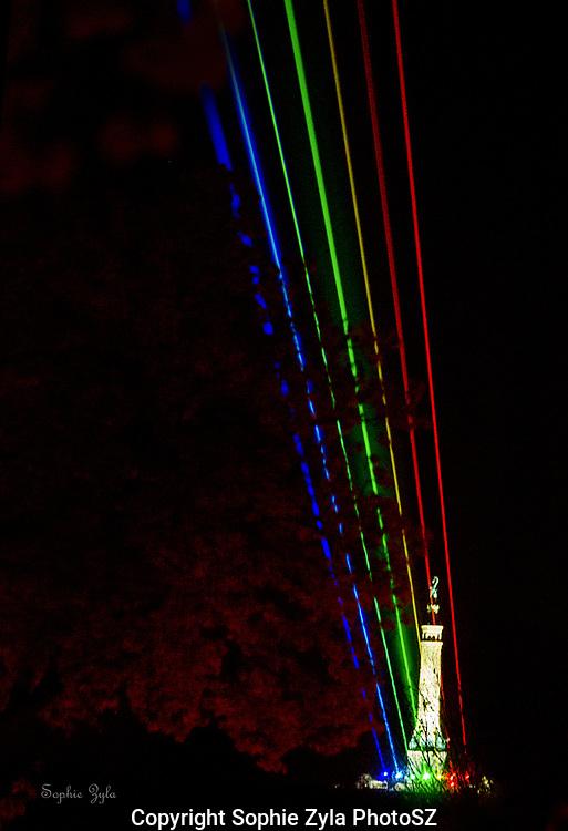 Laser Lights over East Rock