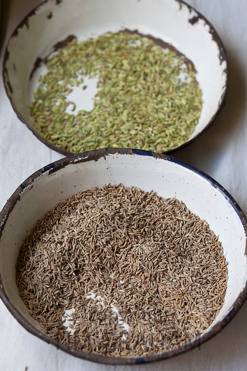 Anise and Cumin on sale at Old Delhi Khari Baoli Spice and Dried Foods Market, India